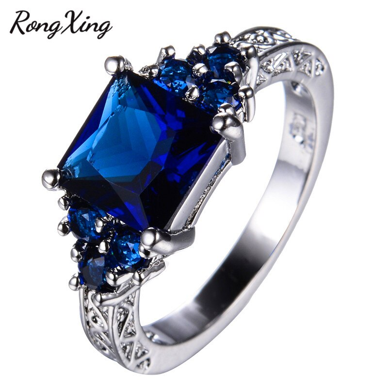 RongXing Princess Cut Blue Stone CZ Rings for Women Wedding Band Vintage Fashion White Gold Filled Zircon Crystal Ring RW1403