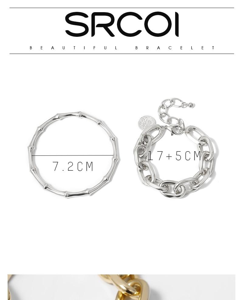 SRCOI 2/Pcs Set Gold Color Metal Chain Link Creative Bamboo Bracelet Bangle 2020 New Fashion Punk Bangle Bracelet Women Party