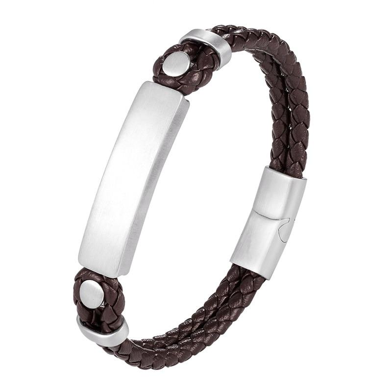 Newest Fashion Leather Bracelet Men Black Braid Stainless Steel Bracelet Magnetic Buckle women Bracelets Jewelry Christmas Gifts
