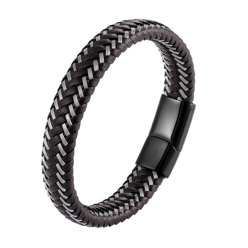 2019 Jewelry Punk Black Braided Geunine Leather Bracelet Professional Design Stainless Steel Magnetic Buckle Bangles 19/21/23cm