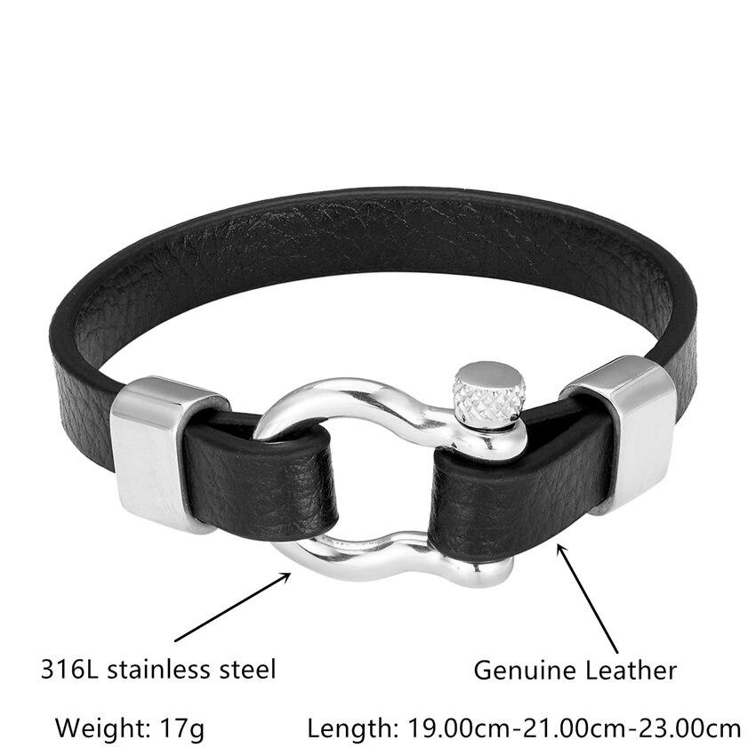 2020 New Fashion D buckle Stainless Steel Bracelet Men Punk Genuine Leather Bracelets & Bangles Charm Jewelry Wholesale Pulseira