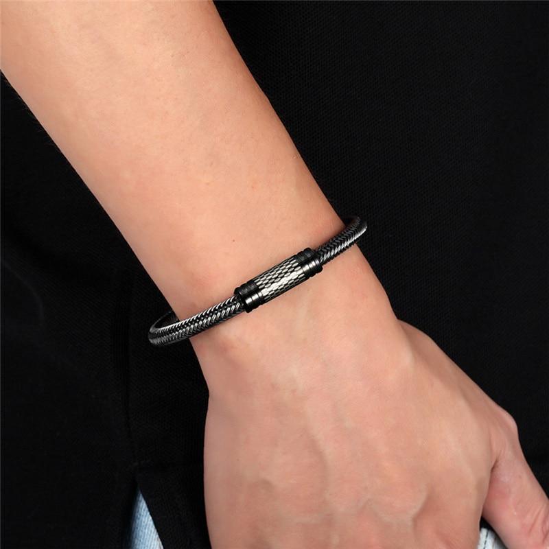 Fashion Punk Black/white Braided Steel wire Bracelet Stainless Steel Magnetic Buckle Simple Style Men Bracelet Women's Jewelry