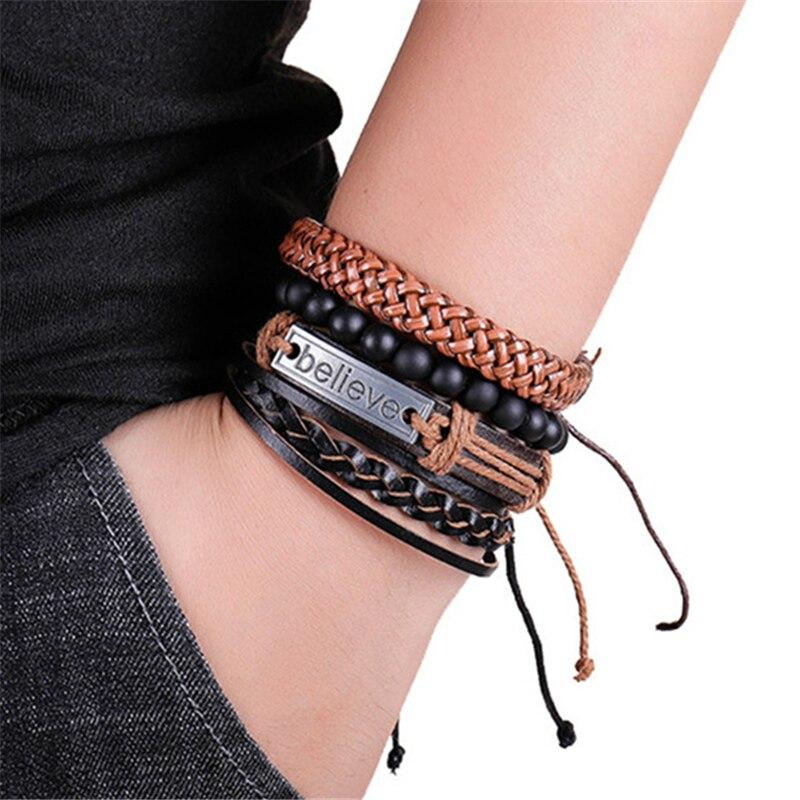 Mix 3/4Pcs/ Set Bracelets & Bangles Mens Leather Bracelets 2019 Vintage Wooden Beads Ethnic Tribal Wristbands Bracelet Evil Eye