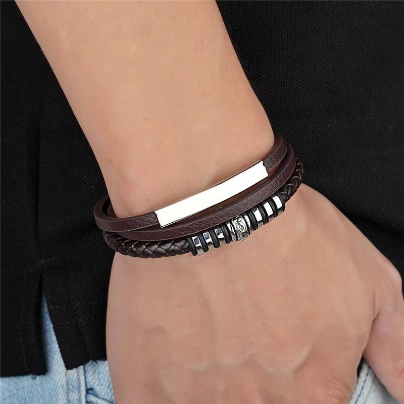 Bracelet Men Multilayer Stainless Steel Leather Bangles Magnetic-Clasp Multi Layer Wrap Trendy Bracelet Armband Pulsera Hombre
