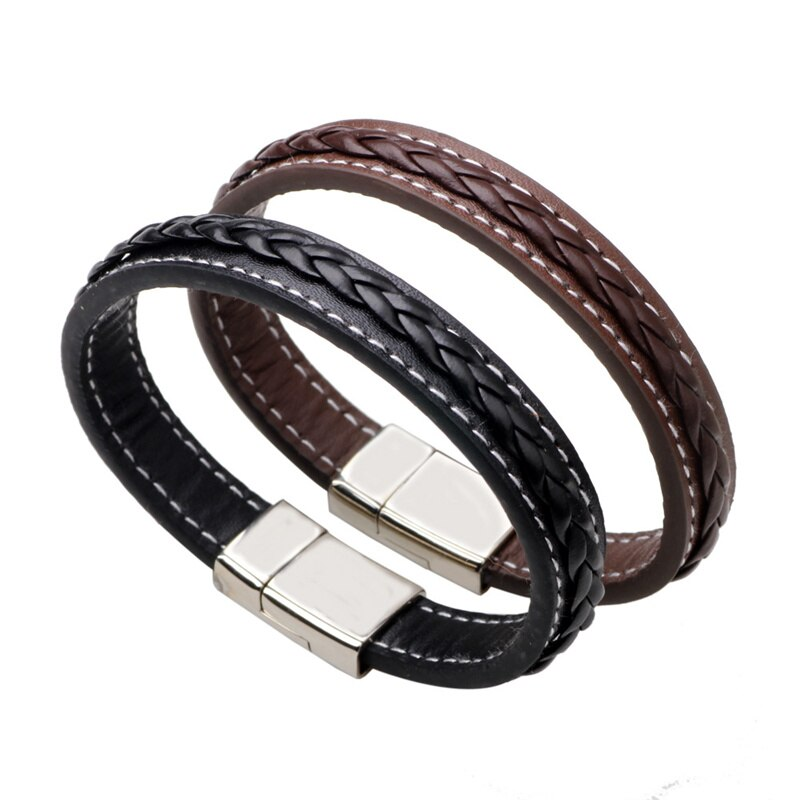 2019 Personality Leather Bracelet Black Brown Bangle For Female Unisex Accessories Jewelry For Birthday Gift Pulseira Masculina