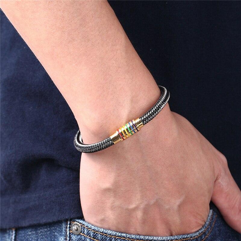 Unique Designer Black/White Genuine Braided Bracelet Men Stainless Steel Gay Pride Rainbow Magnetic Charms Bracelet Women Gift