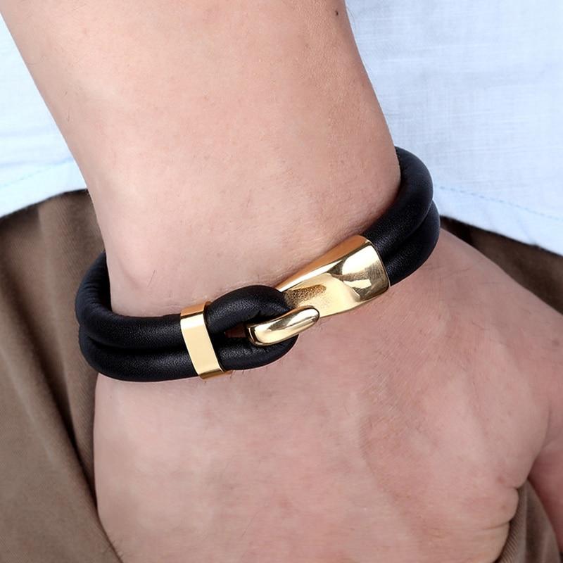2019 New Arrival Multilayer Charm Leather Bracelet Popular Stainless Steel Bracelet Anchor Bracelet For Men Women Lovers' Gift