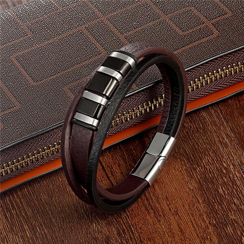 Stainless Steel Men Bracelet Fashion Casual Multilayer Leather Bracelets Men Bracelet Women Punk Rock Jewelry Pulseira Masculina