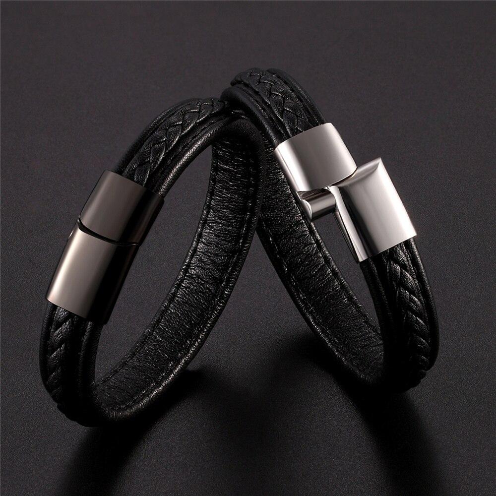 Brand Bracelets Multilayer Braid Genuine Leather Bracelet Titanium Stainless Steel Magnetic Buckle Bracelet Men Bangle Pulseras