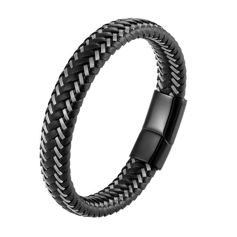 Hot Jewelry Punk Black Blue Braided Leather Bracelet for Men Stainless Steel Magnetic Clasp Fashion Bangles Women Gifts Pulsera