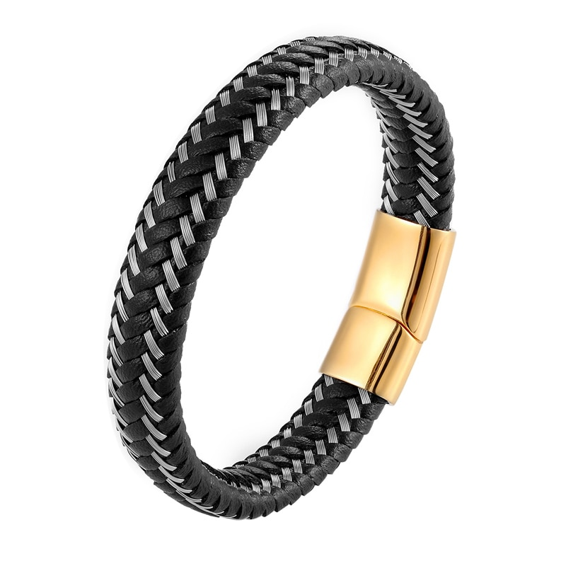 New Braided Leather Bracelet Men Stainless Steel Two-tone Magnetic Clasp Fashion Bangles Punk Women Jewelry Pulseira Masculina
