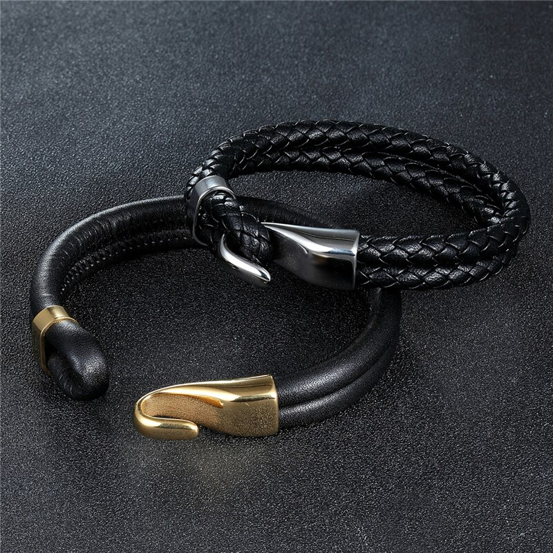 2019 High Quality Creative Black Multi-layer Leather Bracelet Men Stainless Steel Anchor Bracelet Fashion Bangles Gifts Pulseras