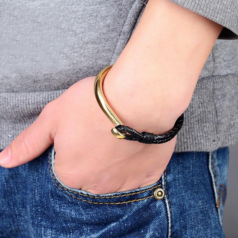 Fashion 21cm Stainless Steel Woven Black Braid Cuff Genuine Leather Bracelets & Anchor Bracelet Men Jewelry Summer Gift Pulseira