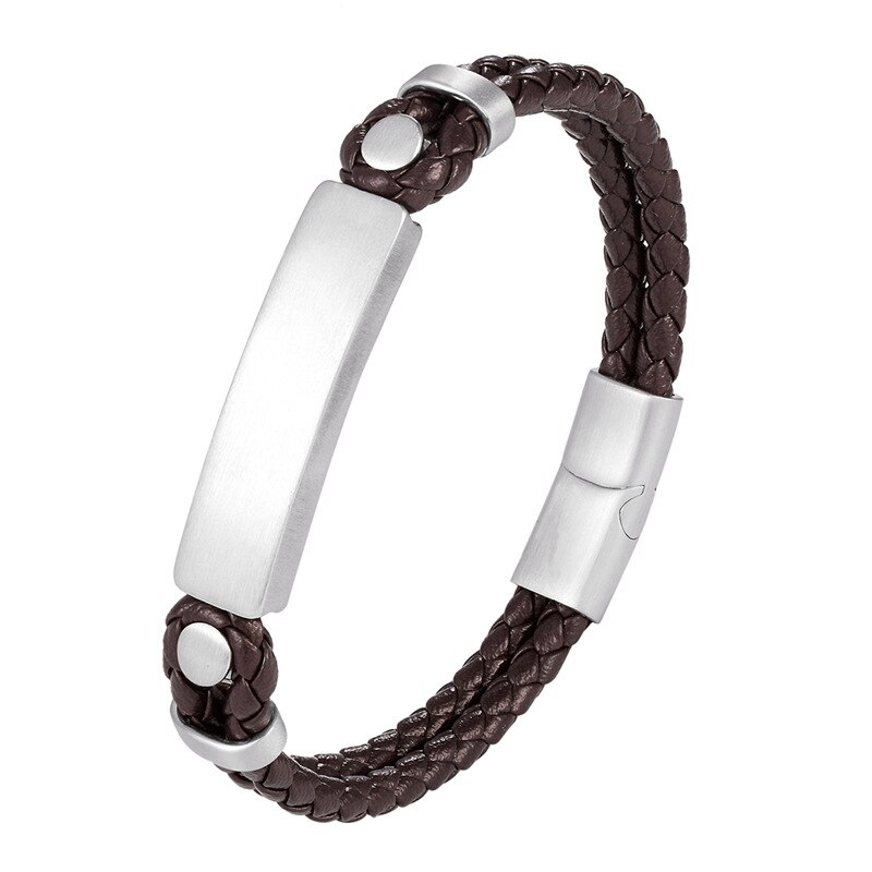 2019 Classic Stainless Steel Bracelet Men Jewelry Brown Weave Leather Bracelet Magnetic Clasp Male Bangles Women Exquisite Gift
