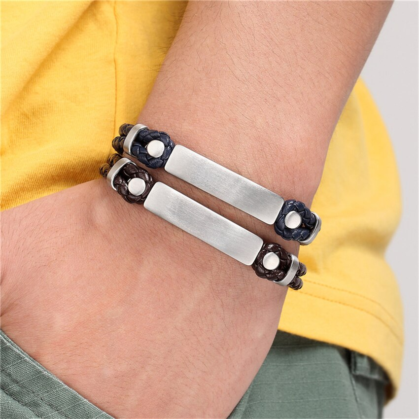 2020 New Wholesale Price Genuine Leather Bracelet Men Jewelry Double layer Magnetic Buckle Handmade Gift For Cool Boys Pulsera