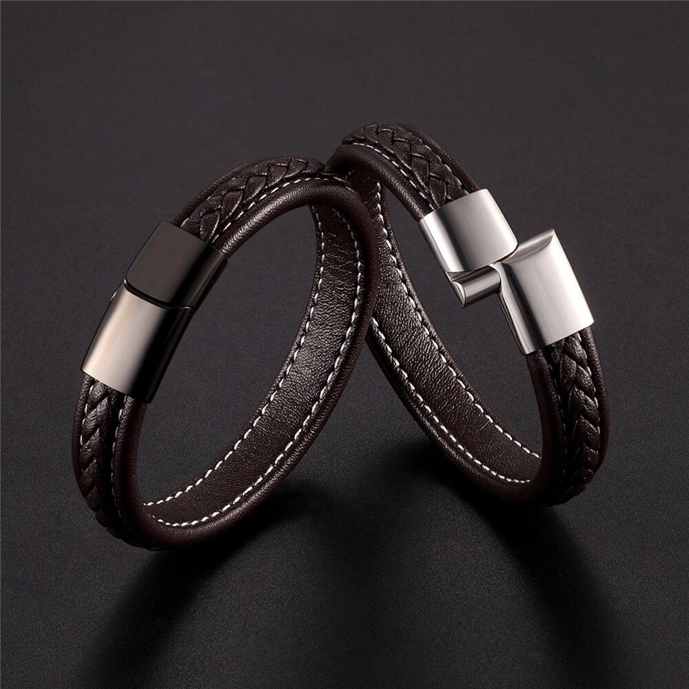 Wholesale Price 100% Genuine Leather Bracelet Men's Black Stainless Steel Bracelet And Bracelet Ladies Jewelry Christmas Present