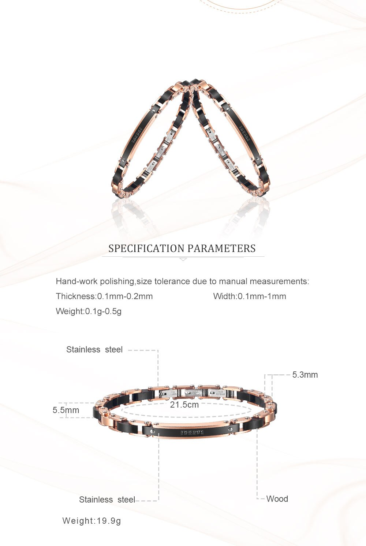 Moocare rose gold bracelet for men women casual elegant party bangle bracelet cuff stainless steel charm chain for male female