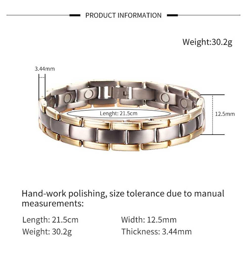 Moocare titanium magnetic bracelet health men metal hand wrist chain plated gold black adjustable with tool