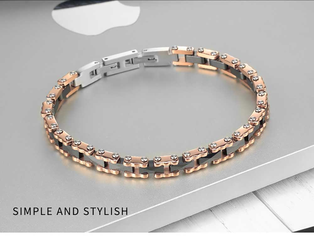Moocare rose gold stainless steel wrist chain black women men charm bracelet ceramic jewelry accessories for ladies