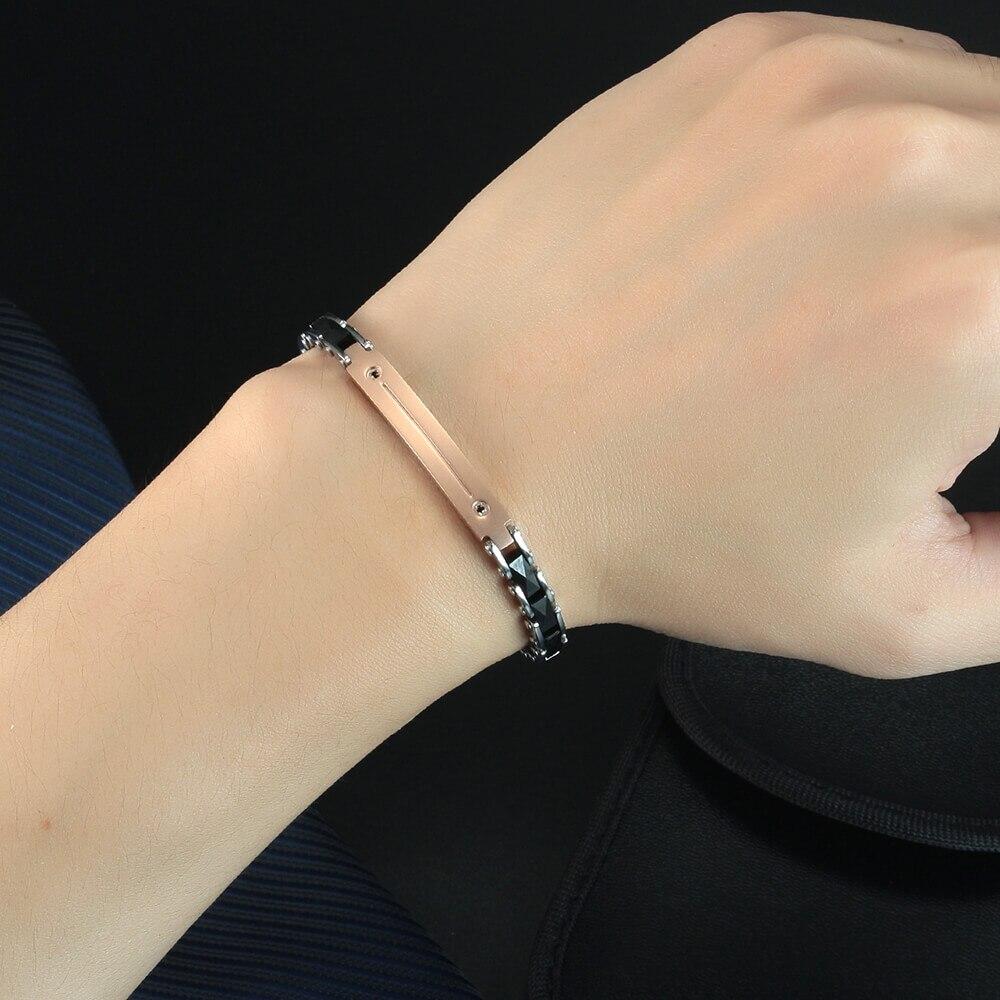 Moocare male female ceramic bracelet stainless steel black trendy adjustable charm metal bracelet for men women hand chain