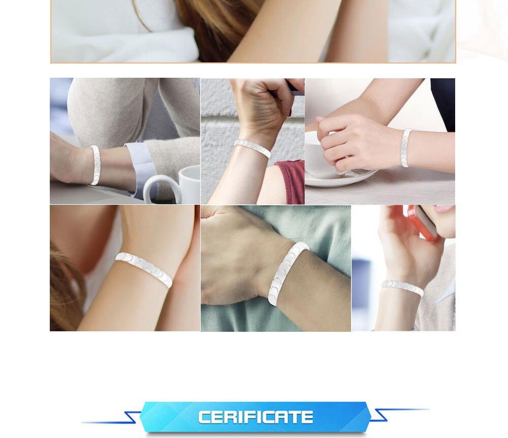 Moocare White Ceramic Magnetic Therapy Bracelet Bio Elements Energy Germanium Bracelets Charms Bangles For Women Men