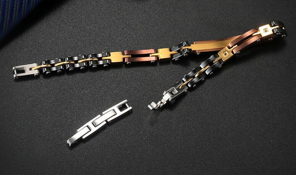 Moocare charm bracelet men women trendy elegant stainless steel ceramic bracelets male female adjustable wrist hand chain