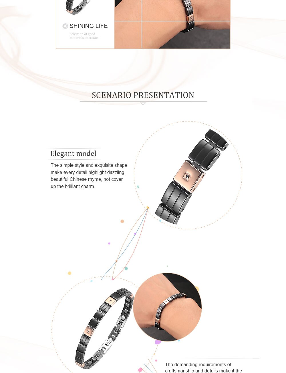 Moocare male black ceramic bracelet cuff 316 L stainless steel classic wristband men casual wrist hand charm chain