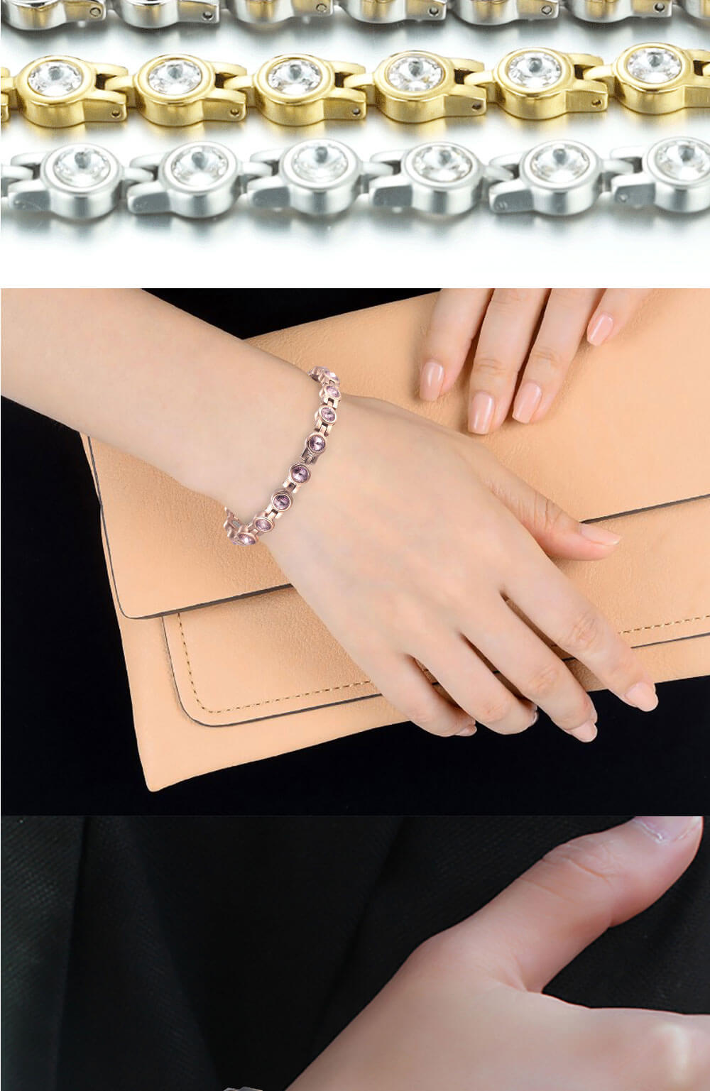 Moocare women magnetic bracelet health stainless steel charm zircon rose gold bracelet women hand wrist chain jewelry