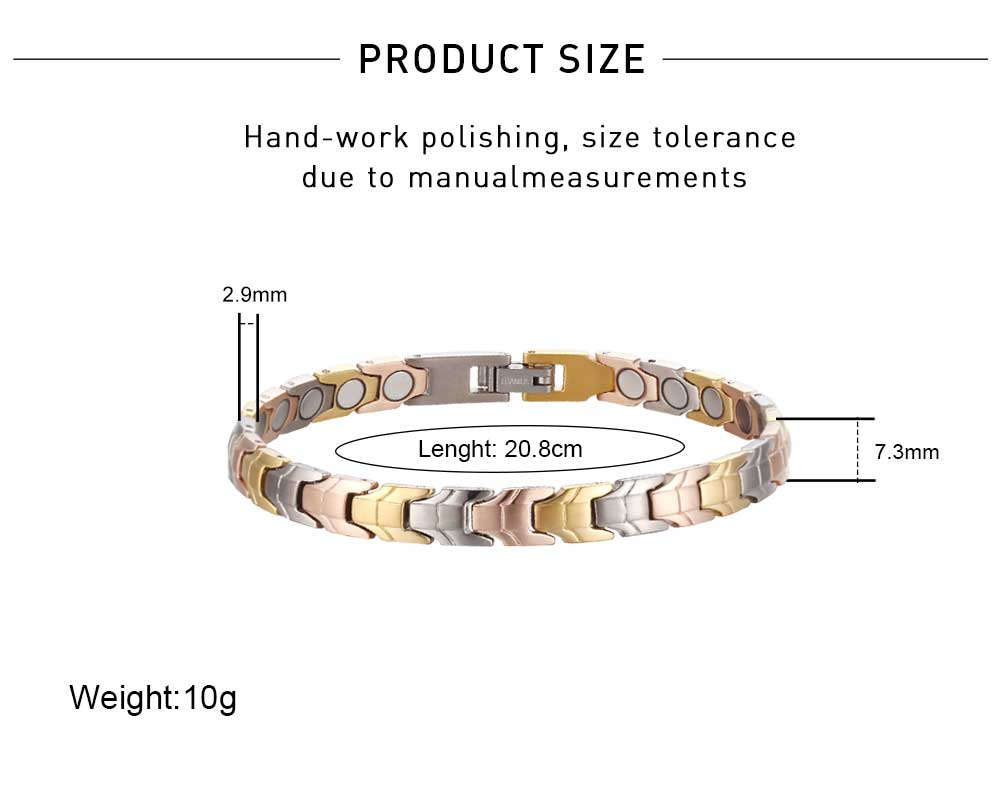 Moocare high quality titanium female power therapy magnet blood pressure blood pressure bracelet protection biomagnetic bracelet