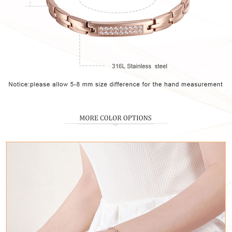 Moocare women germanium elements bracelet  rose gold black wrist chain ladies trendy stainless steel bracelets jewelry