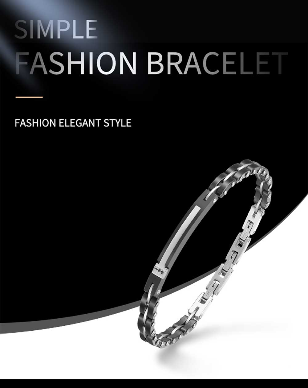 Moocare stainless steel men women bracelet ceramic chain plated black jewelry accessories