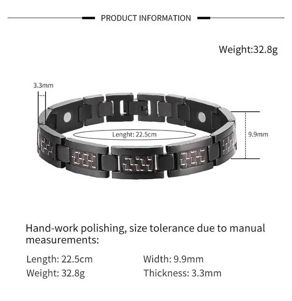Moocare magnetic titanium bracelets men black health power hand chain adjustable with tool for male jewelry accessories