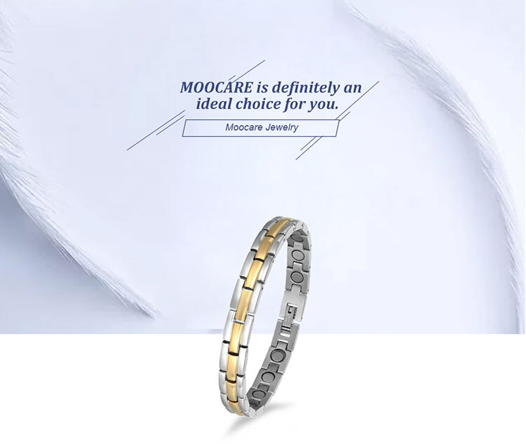 Moocare Adjustable Link Stainless Steel Magnetic Bracelet For Women And Men With Strong Fold-Over Clasp wrist hand chain