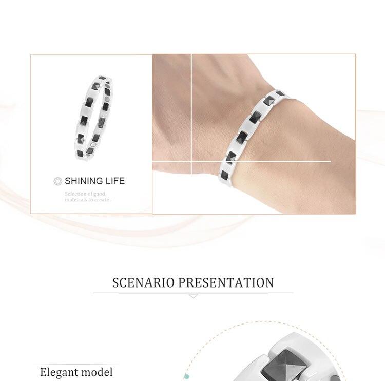 Moocare white ceramic bracelet for women men hand wrist chain link bracelets hand accessories women magnetic therapy bracelet