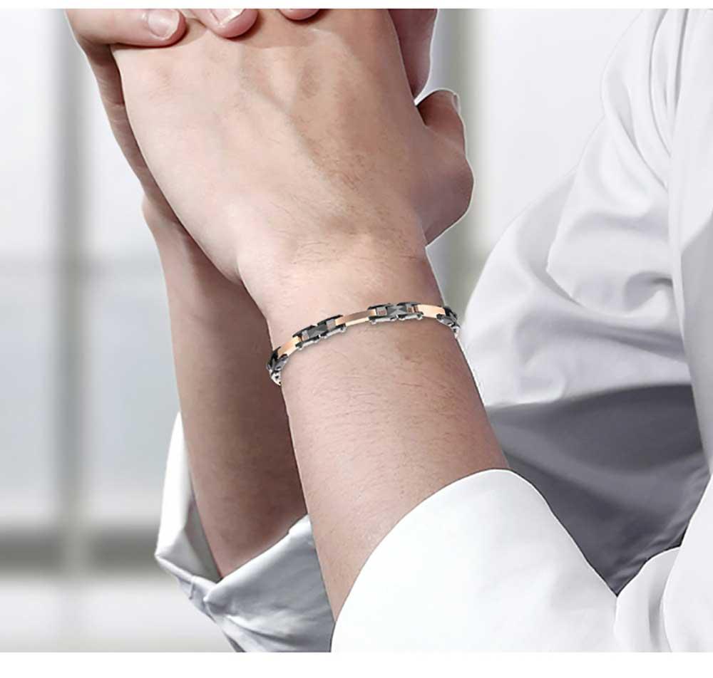 Moocare plated rose gold black women men ceramic bracelet stainless steel elegant female male hand wrist chain charm jewelry