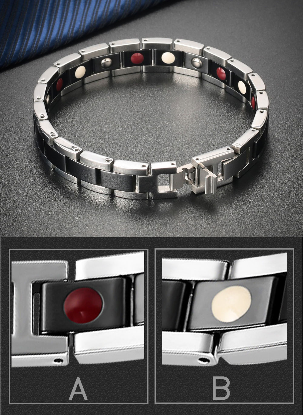 Moocare women men Germanium magnetic bracelet health stainless steel ceramic male female couples hand wrist chain adjustable