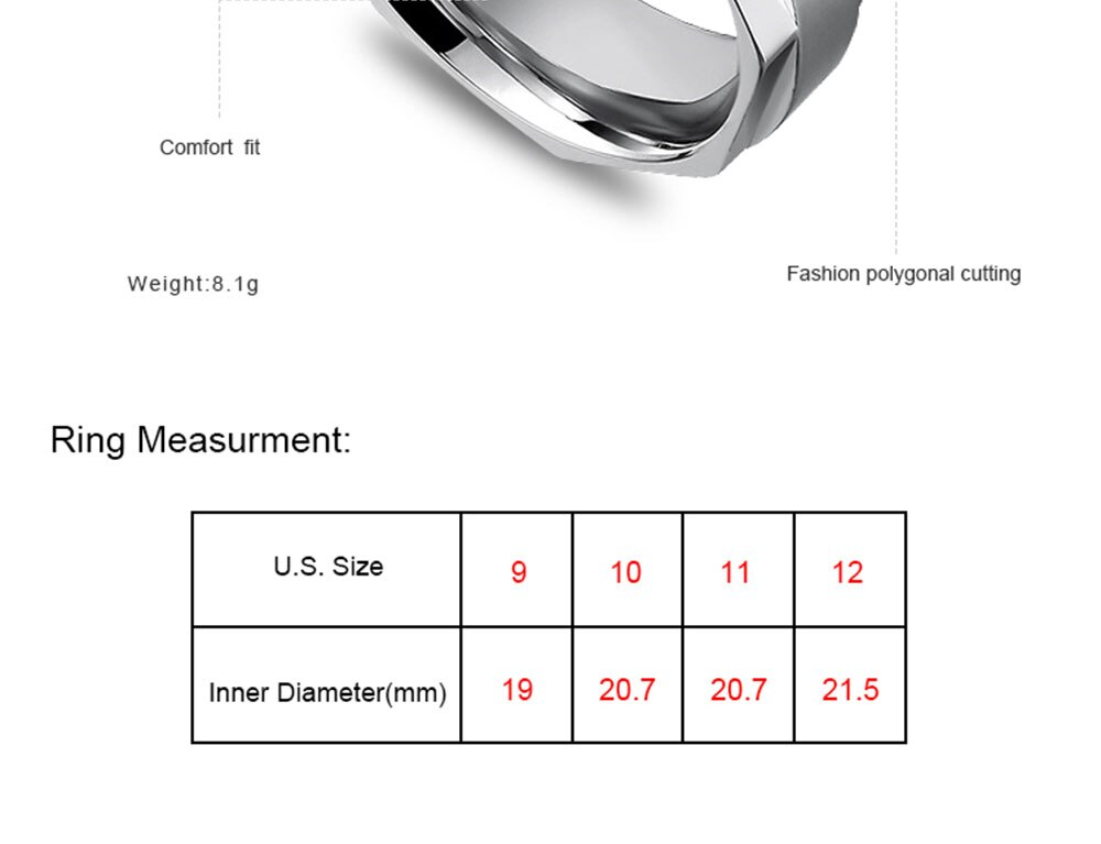 Mcooare wedding bands rings men 316 L stainless steel male trendy party  geometric ring for men
