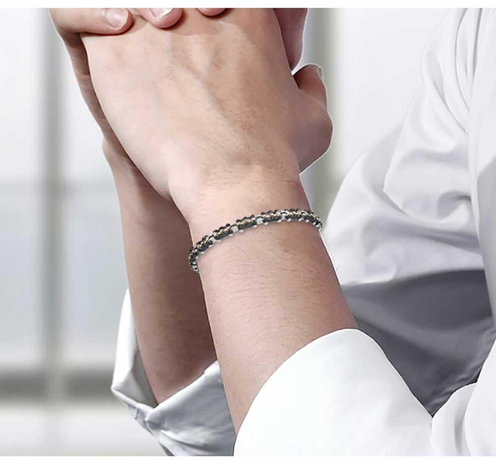 Moocare black stainless steel women men link charm bracelet handmade jewelry accessories casual office hand wrist chain