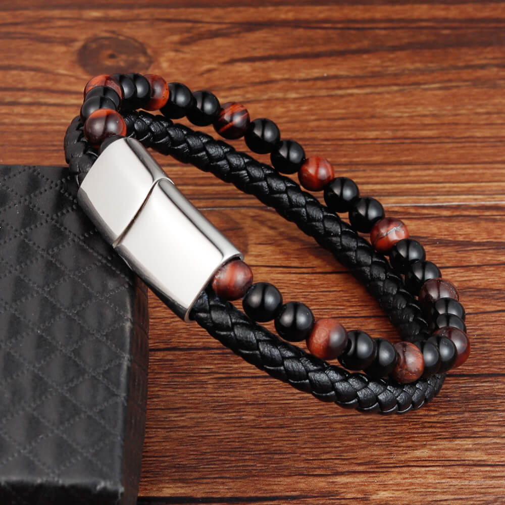 Moocare handmade charm leather bracelet men stainless steel magnet clasp nature stone strand beaded bracelets hand chain jewelry