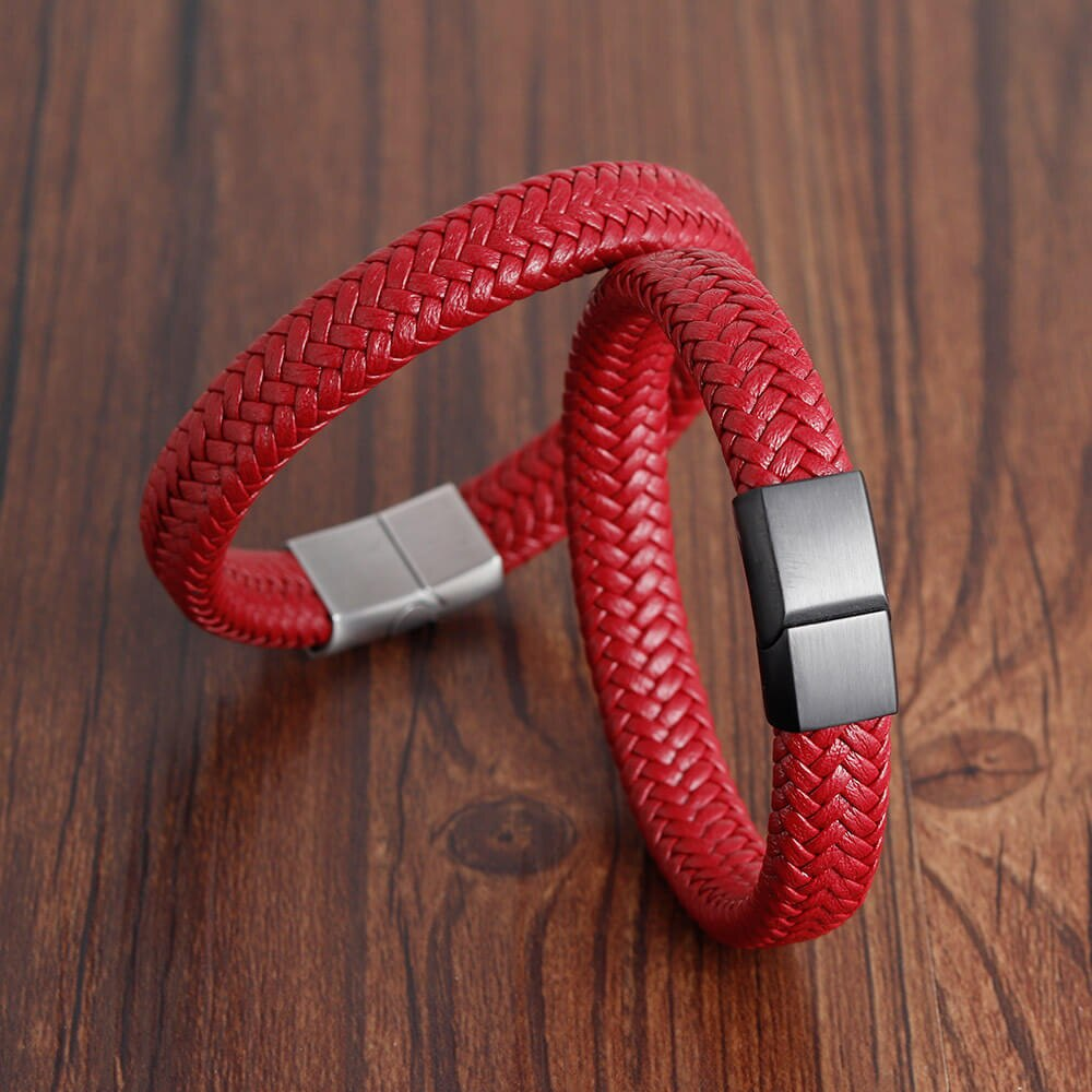 Moocare Men handmade hand Chain With Stainless Steel Magnetic Clasp Brown Black Weaved male wristband men