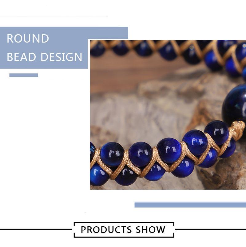Blue Tiger Eye Stone Bracelet Tibetan Handmade Adjustable Knot Beaded Bracelet 2020 For Women Jewelry Gifts