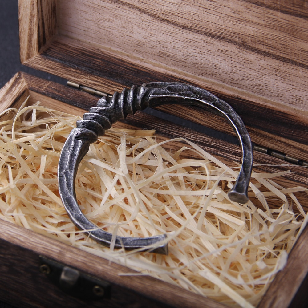 New Arrival Iron color Vikings Bangle with wooden box as gift
