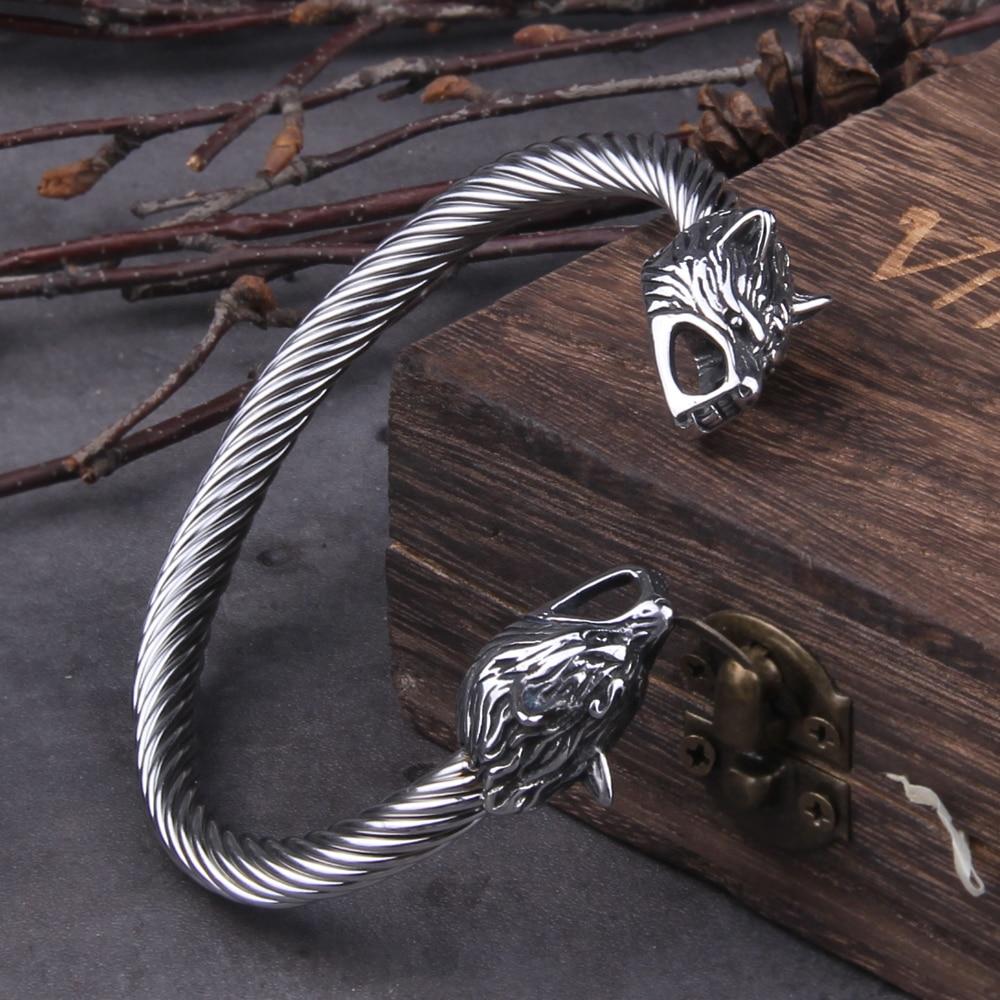 Stainless Steel Nordic Viking Dragon Bracelet adjustable Men Wristband Cuff Bracelets with Viking Wooden Box