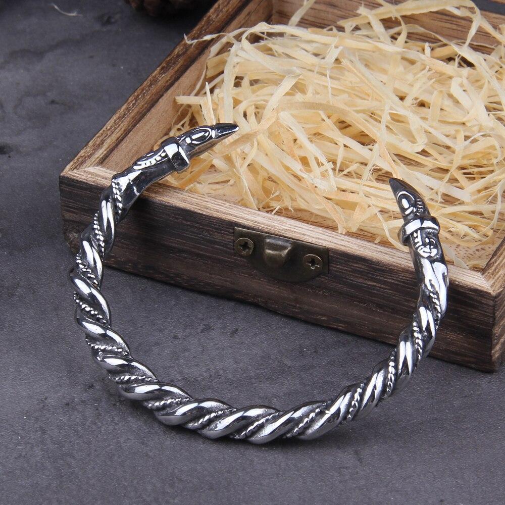Stainless Steel Nordic Viking Norse Raven Bracelet adjustable Men Wristband Cuff Bracelets with Viking Wooden Box