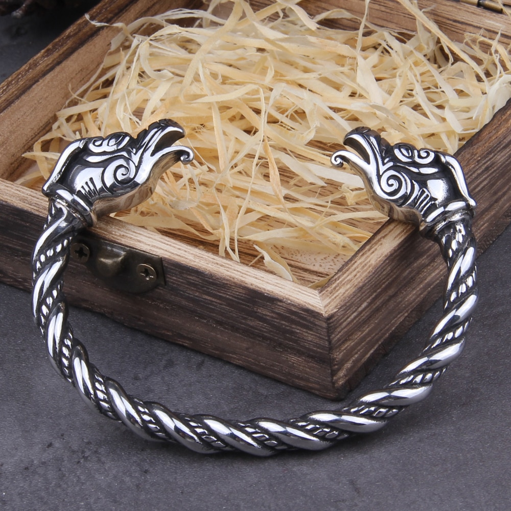 Stainless Steel Nordic Viking Norse Dragon Bracelet adjustable Men Wristband Cuff Bracelets with Viking Wooden Box