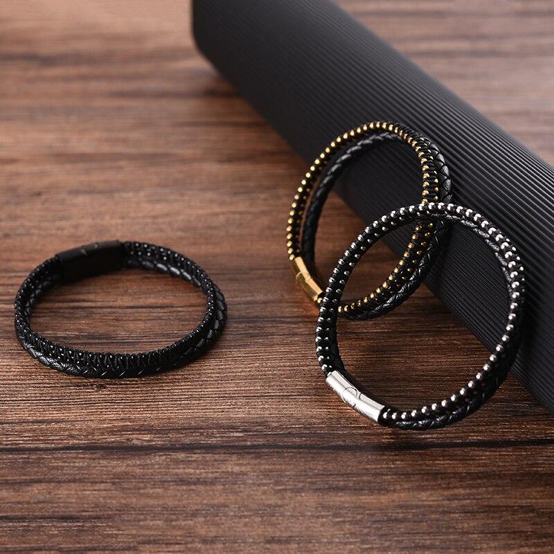 MingAo Fashion Rose Gold Black Golden Charms Bead Custom Chain Bracelet Set for Women Stainless Steel Leather Man Bracelet Gift