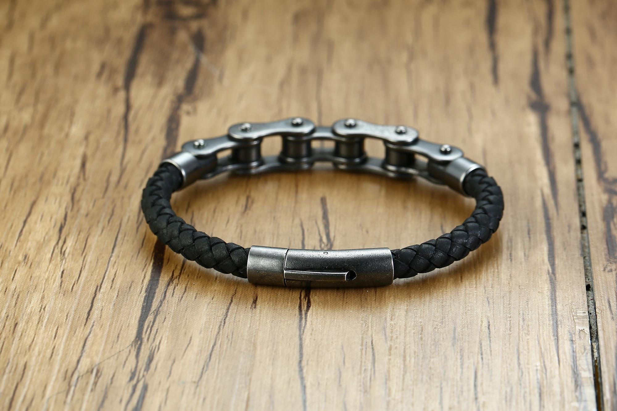 Mingao Man Bracelet Stainless Steel Bicycle Chain Leather Bracelet European and American Style Retro Black Men Braclet Friends