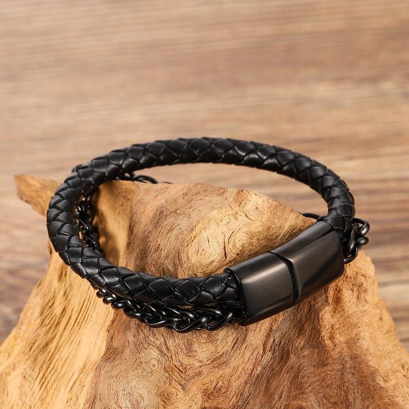 2020 Cuban Men Stainless Steel Leather Golden Bracelet Chain Black Fashion Bracelets For Women Free Custom Name Punk Bangle Gift