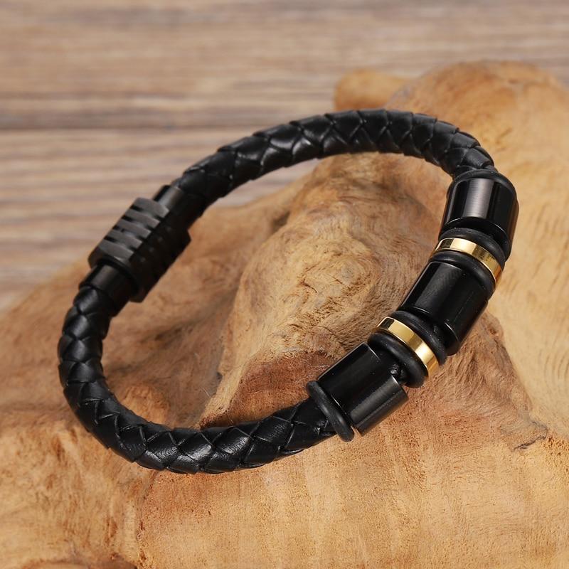 MingAo Custom Leather Beaded Braclets Single Layer Chakra Bracelet Gold/Black Color Men's Bracelet Charm Bracelets for Women