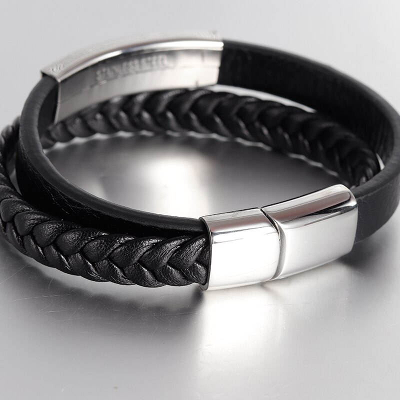 Fashion Black Genuine Leather Bracelet Simple Style Punk Stainless Steel Bangle Magnetic Buckle Double Layer Braid Rope